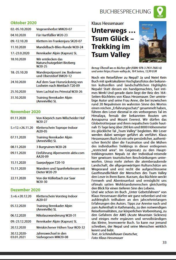 Ich freue mich über die Buchbesprechung / Rezi in der Frühjahrsausgabe der Sektionszeitschrift des DAV Saarbrücken.